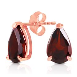 ALARRI 2.55 CTW 14K Solid Rose Gold Stud Earrings Natural Garnet