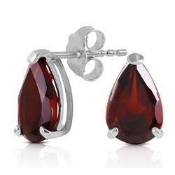 ALARRI 2.55 CTW 14K Solid White Gold Stud Earrings Natural Garnet