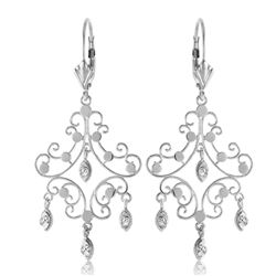 ALARRI 0.04 CTW 14K Solid White Gold Chandelier Diamond Earrings