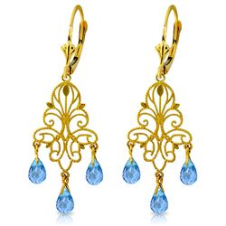 ALARRI 3.75 Carat 14K Solid Gold Mademoiselle Blue Topaz Earrings