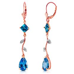 ALARRI 3.97 Carat 14K Solid Rose Gold Chandelier Earrings Natural Diamond Blue Topaz