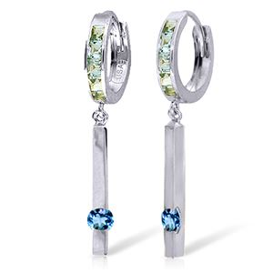 ALARRI 1.35 Carat 14K Solid White Gold That Smile Of Yours Blue Topaz Earrings