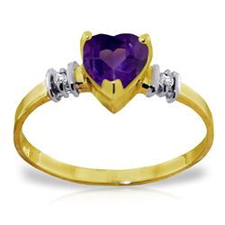 ALARRI 0.98 Carat 14K Solid Gold Ring Natural Purple Amethyst Diamond