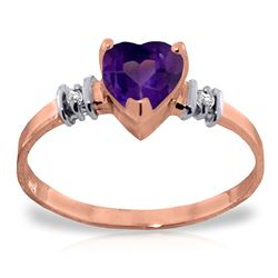 ALARRI 14K Solid Rose Gold Ring w/ Natural Purple Amethyst & Diamonds