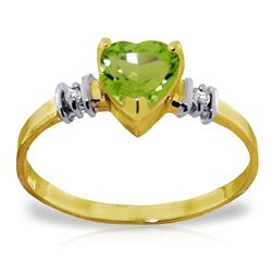ALARRI 0.98 Carat 14K Solid Gold Ring Natural Peridot Diamond