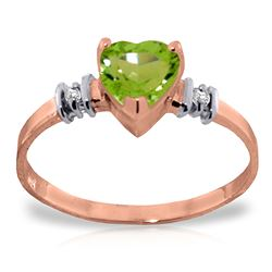 ALARRI 14K Solid Rose Gold Ring w/ Natural Peridot & Diamonds