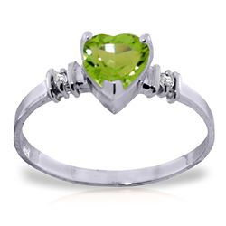 ALARRI 14K Solid White Gold Ring w/ Natural Peridot & Diamonds