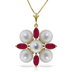 ALARRI 6.3 Carat 14K Solid Gold Necklace Ruby Pearl