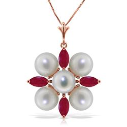 ALARRI 6.3 Carat 14K Solid Rose Gold Necklace Ruby Pearl