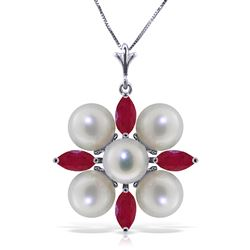 ALARRI 6.3 Carat 14K Solid White Gold Necklace Ruby Pearl