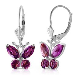 ALARRI 1.24 CTW 14K Solid White Gold Butterfly Earrings Natural Amethyst