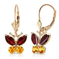 ALARRI 1.24 CTW 14K Solid Gold Butterfly Earrings Garnet Citrine