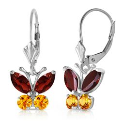 ALARRI 1.24 Carat 14K Solid White Gold Butterfly Earrings Garnet Citrine