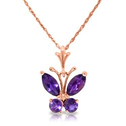 ALARRI 0.6 Carat 14K Solid Rose Gold Butterfly Necklace Purple Amethyst