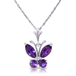 ALARRI 0.6 CTW 14K Solid White Gold Butterfly Necklace Purple Amethyst