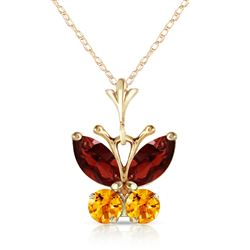 ALARRI 0.6 CTW 14K Solid Gold Butterfly Necklace Garnet Citrine