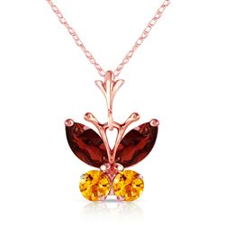 ALARRI 0.6 CTW 14K Solid Rose Gold Butterfly Necklace Garnet Citrine