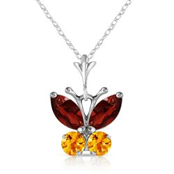 ALARRI 0.6 Carat 14K Solid White Gold Butterfly Necklace Garnet Citrine