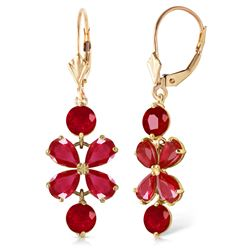 ALARRI 5.32 CTW 14K Solid Gold Chandelier Earrings Natural Ruby