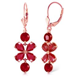 ALARRI 5.32 CTW 14K Solid Rose Gold Chandelier Earrings Natural Ruby