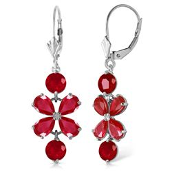 ALARRI 5.32 CTW 14K Solid White Gold Chandelier Earrings Natural Ruby