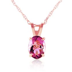 ALARRI 0.85 Carat 14K Solid Rose Gold Solitaire Pink Topaz Necklace