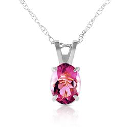 ALARRI 0.85 Carat 14K Solid White Gold w/ out A Sign Pink Topaz Necklace