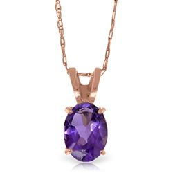ALARRI 0.85 Carat 14K Solid Rose Gold Solitaire Amethyst Necklace