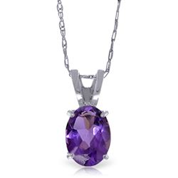 ALARRI 0.85 CTW 14K Solid White Gold Plunge Ahead Amethyst Necklace