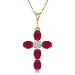 ALARRI 1.75 Carat 14K Solid Gold Cross Necklace Natural Diamond Ruby