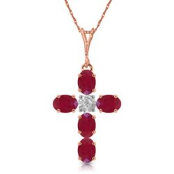 ALARRI 1.75 Carat 14K Solid Rose Gold Cross Necklace Natural Diamond Ruby