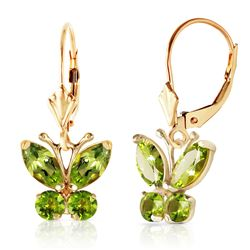 ALARRI 1.24 CTW 14K Solid Gold Butterfly Earrings Peridot