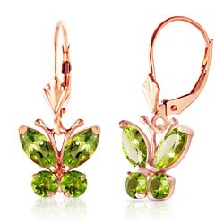 ALARRI 1.24 Carat 14K Solid Rose Gold Butterfly Earrings Peridot