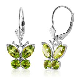 ALARRI 1.24 Carat 14K Solid White Gold Butterfly Earrings Peridot