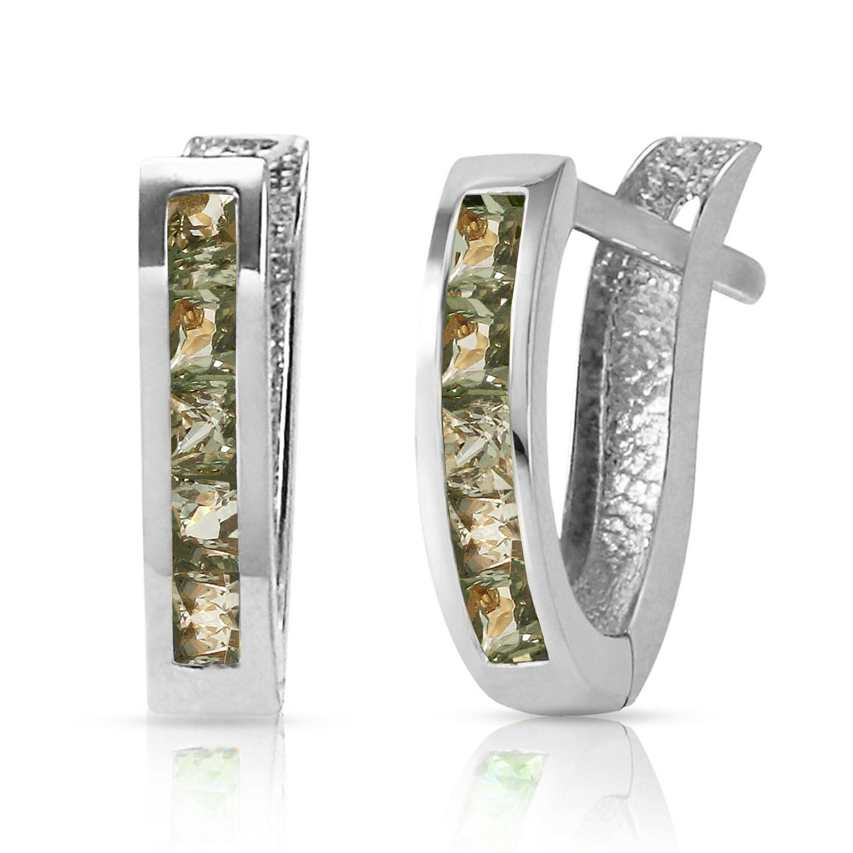 ALARRI 1.3 CTW 14K Solid White Gold Hoop Earrings Natural Green Sapphire