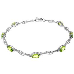 ALARRI 3.39 CTW 14K Solid White Gold Tennis Bracelet Peridot Diamond