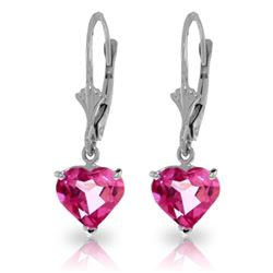 ALARRI 3.25 Carat 14K Solid White Gold Leverback Earrings Pink Topaz