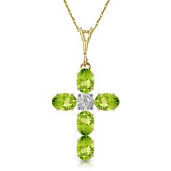 ALARRI 1.88 Carat 14K Solid Gold Cross Necklace Natural Diamond Peridot