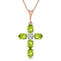 ALARRI 1.88 Carat 14K Solid Rose Gold Cross Necklace Natural Diamond Peridot