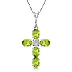 ALARRI 1.88 Carat 14K Solid White Gold Cross Necklace Natural Diamond Peridot