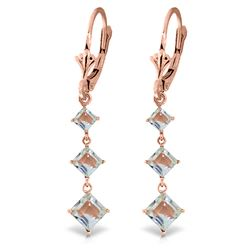 ALARRI 4.79 Carat 14K Solid Rose Gold Earrings Square Cut Aquamarine