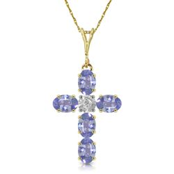 ALARRI 1.75 CTW 14K Solid Gold Cross Necklace Natural Diamond Tanzanite