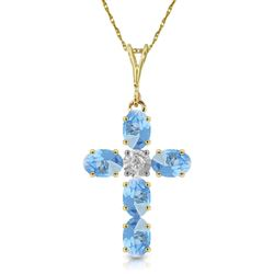 ALARRI 1.75 Carat 14K Solid Gold Cross Necklace Natural Diamond Blue Topaz