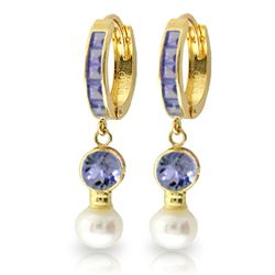 ALARRI 4.65 Carat 14K Solid Gold Huggie Earrings Pearl Tanzanite
