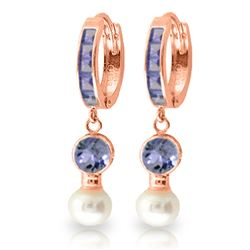 ALARRI 4.65 Carat 14K Solid Rose Gold Huggie Earrings Pearl Tanzanite