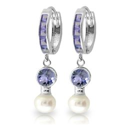 ALARRI 4.65 CTW 14K Solid White Gold Huggie Earrings Pearl Tanzanite