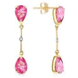 ALARRI 7.01 CTW 14K Solid Gold Diamond Pink Topaz Dangling Earrings