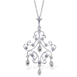 ALARRI 0.02 Carat 14K Solid White Gold Chandelier Necklace Diamond