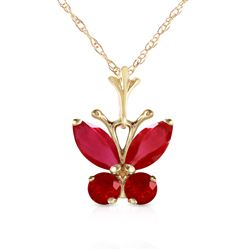 ALARRI 0.6 Carat 14K Solid Gold Butterfly Necklace Natural Ruby