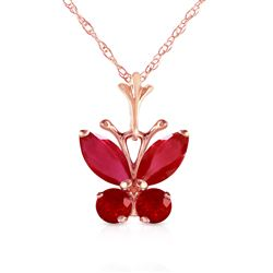 ALARRI 0.6 Carat 14K Solid Rose Gold Butterfly Necklace Natural Ruby